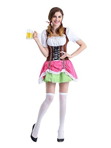 Uleade Halloween Deutsch Karneval Cosplay Damen Bier Mädchen Kostüm Oktoberfest Serving Mädchen Erwachsene Dirndl Kleid