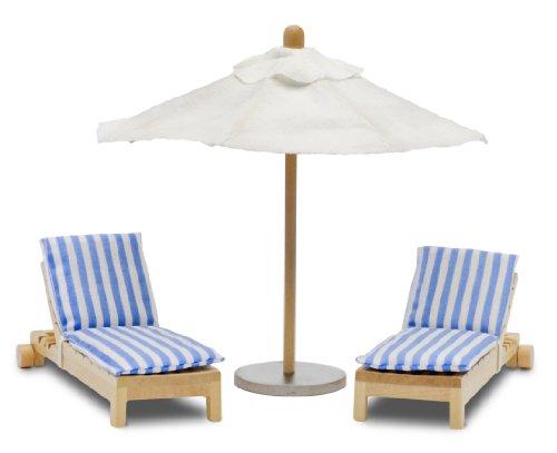 Lundby 60.9025.00 Stockholm - Tumbonas y Parasol para casa de muñecas