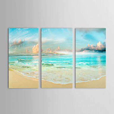 WSS dipinti ad olio set di 3 paesaggio marino lato terra e il cielo blu della tela di canapa dipinta a mano pronta per essere appesa