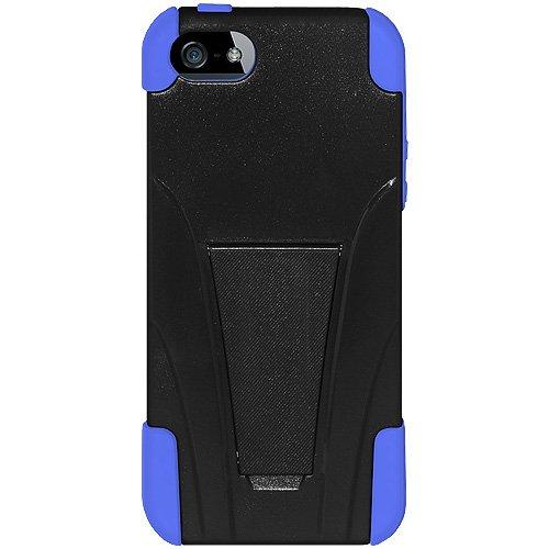Amzer Coque hybride double couche avec béquille pour iPhone 5/5S Bleu/Noir