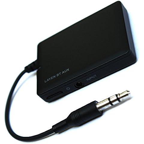 LAYEN BT AUX - Receptor de música Bluetooth / adaptador para dock. Entrada auxiliar de 3,5 mm para equipos de música, coches, bases dock y sistemas de altavoces. Reproducción de música de forma
