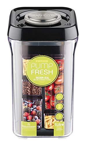 Pioneer Pump Fresh Vakuum Seal Kanister Food Storage Tupperware Box, Plastik, schwarz, 1000 ml -