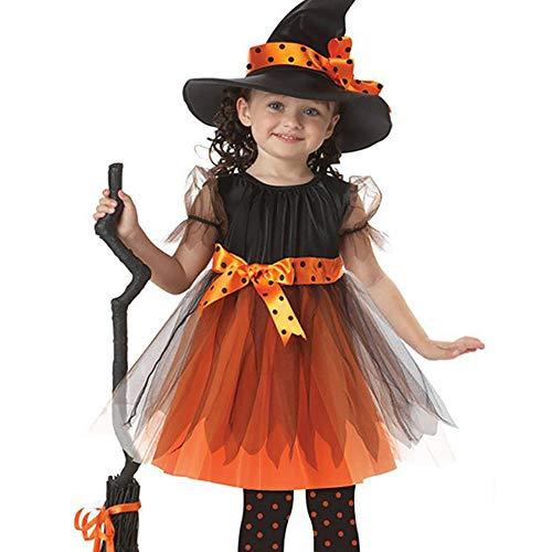 AZX Kinder Mädchen Halloween-Kleidung Set Fräulein Hexe Party Kleid Hut Festival Kostüm Kleid Baby Kleinkind Outfit Orange&Schwarz (100 ()