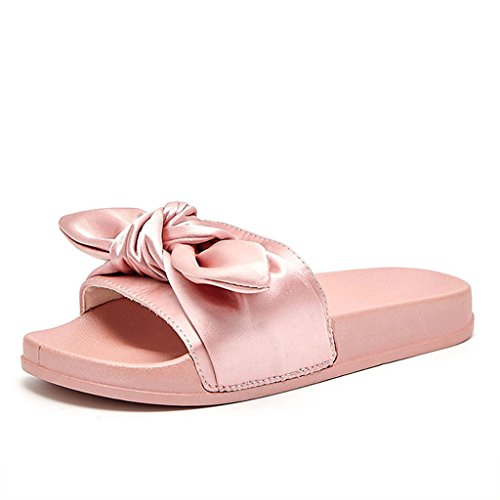 Liuxuepin pantofole parola casual antiscivolo piatte con fiocco in raso. pantofole da indossare per la moda estiva femminile (colore : rosa, dimensioni : 36)