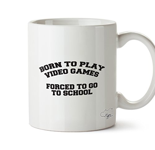 hippowarehouse Born to Play Video Games FORCED TO GO TO SCHOOL 283,5Tasse, keramik, weiß, One Size (10oz) (Tech Und Go Mobile Power)