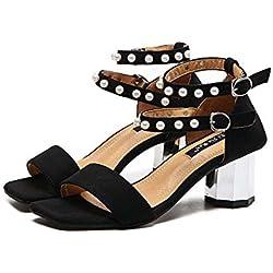 Pumps Chunky Heels 2 Schicht Pearl Ankel Strap Sandalen Dame Mode Einfach Quadratische Zehe Offener Zeh Gürtelschnalle Abendschuhe Gerichte Schuhe Lässige Schuhe Eu Größe 35-39 , black , 36