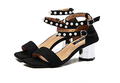online store 18fcf 88f94 Pumps Chunky Heels 2 Schicht Pearl Ankel Strap Sandalen Dame ...