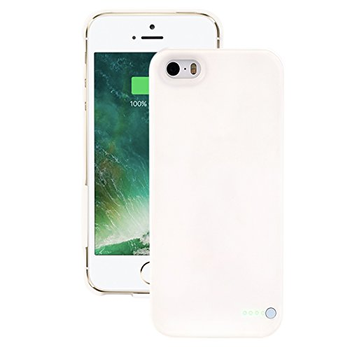 Ultra thin iphone 5/5s/5se custodia cover protettiva con batteria ricaricabile esterna - power bank backup battery charger case - bianca