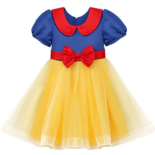 Kind Kostüm Tanz Königin - OBEEII Mädchen Prinzessin Snowwhite Kleid Blau Gelb Kinder Cosplay Schneewittchen Kostüm Karneval Party Verkleidung Halloween Fest 5-6 Jahre