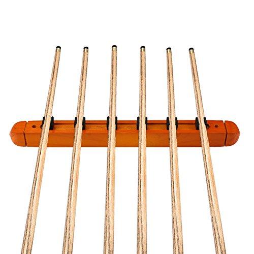 moocy 2Billard Pool Wandhalterung hält 6Cue Sticks natur massiv Holz Rack-Gelb -