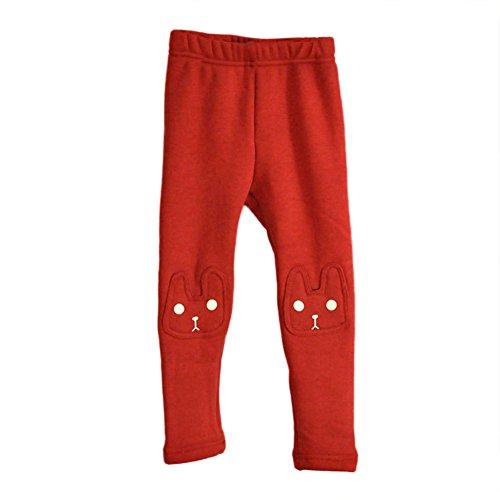 Kids Baby Girls Cute Rabbit Leggings Winter Warm Thick Fleence Pants 2-7years