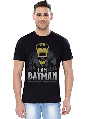 The Souled Store I Am Batman Superhero Printed Premium BLACK Cotton T-shirt for Men Women and Girls