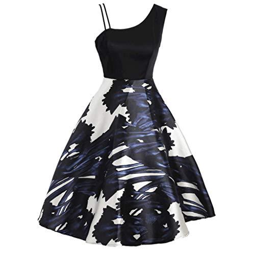 Zegeey Damen Rockabilly Partykleider äRmellose Schulterfrei Plaid Drucken UnregelmäßIgen Kleid Cosplay Ballkleid(A1-Blau,EU-40/CN-XL) (Damen Für Great Gatsby-kleidung)