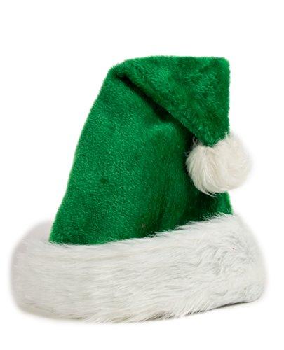 Ciffre Weihnachtsmütze Nikolausmütze Plüsch Rand Grün Weihnachtsfeier X58
