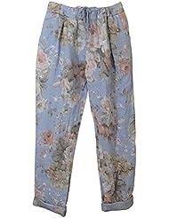 Damen Hose / Leinenhose aus luftigem angenehm zu tragendem Leinen, bedruckt, bequemer Schnitt, Gummibund, Taschen, MADE IN ITALY