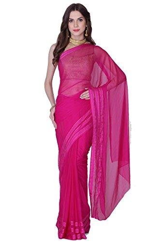 Art chiffon beautiful saree with border golden stripes With brocade blouse (Pink)