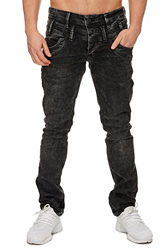TAZZIO Slim Fit Herren Stretch Jeans Hose Denim 16535 schwarz 32/32 - 2