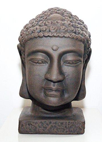 Buddha-Kopf – in Dunkelbraun, Buddha-Figur als schöne Wohndeko, Geschenk oder Garten-figur