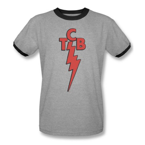 Elvis Presley - Herren Tcb Ringer T-Shirt In Heather / Schwarz, Large, Heather/Black (Heather Ringer T-shirt)