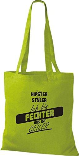 Shirtstown Stoffbeutel du bist hipster du bist styler ich bin Fechter das ist geiler kiwi