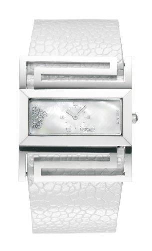 Versace - Versace Deauville VSQ99D001S001 - Montre Femme - Quartz - Bracelet Cuir Blanc