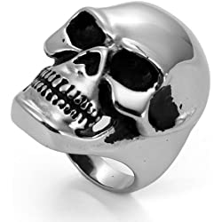 JewelryWe hombre mujer cráneo acero inoxidable grande para compromiso y boda
