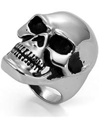 JewelryWe Inoxidable Grandes y Pesados, Biker Calavera Anillo Compromiso Boda Banda para Hombres, Negro y Plata Color–Gratis Bolsa de Regalo de Terciopelo