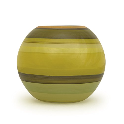 Angela neue Wiener Werkstaette Glasvase veredelt Kugelform, Glas, Gelb/grün 14 x 14 x 14 cm