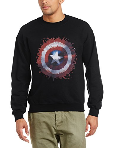 Marvel Herren Avengers Assemble Captain America Art Shield Sweatshirt, Schwarz, XL (Captain America Avengers Assemble)