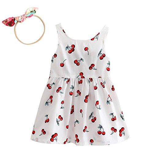1 stücke Kinder haarnadel, 1 stücke Mädchen Sommerkleider Mädchen Ärmelloses Muster Kleid