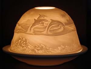 Photophore Dauphin en porcelaine–Design dôme, fabriqué en biscuit de porcelaine