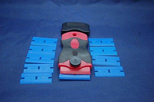 Einseitige Rasierklinge Halter und 10x Kunststoff Rasierklingen, Kleber Entferner Werkzeug, Schaber