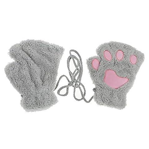 Rnow Women Winter Fluffy Bear Cat Plush Paw Claw Glove Half Finger Cute Gloves Mittens Light Gray