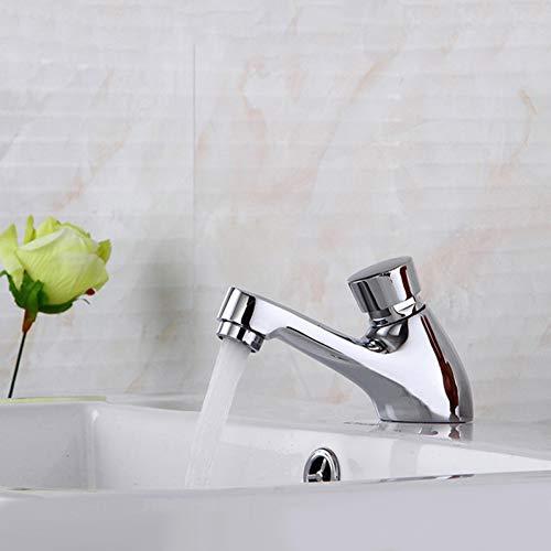 OEWFM Wasserhahn Bad Waschbecken Wasserhahn Kupfer Zeitverzögerung Wasserhahn Touch Presse Auto Selbstschließende Einzel Kaltwassersparhahn für öffentliche Toilette -