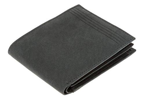 Ledergeldbeutel HJP VINTAGE (mit Datensafe RFID / NFC Blocker) Leder Geldbörse natürliche Gerbung + Etui (BASIC 60291 Schwarz) BASIC 60291 Schwarz