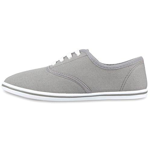 Damen Sneakers Low Strass Turnschuhe Bequeme Schnürer Grau