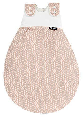 Alvi Baby Mäxchen Außensack Exclusiv I Baby-Schlafsack mitwachsend & atmungsaktiv I Kinderschlafsack waschbar I leichter Schlafsack ÖKO-tex geprüft, Größe:50/56, Design:Raute rosa dunkel