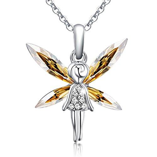 STAR SANDS Süßer Engel Kristall Anhänger Halskette aus mit Mariquesa förmigen Kristallen aus dem Hause Swarovski -Golden Schatten -Überzogen mit Rhodium