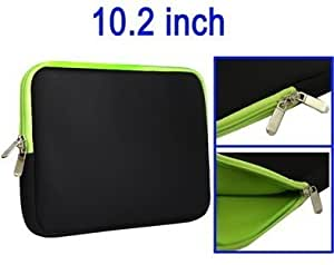 "LUPO Black with Green Inside Netbook Neoprene Pouch Case Sleeve - Fits up to 10.2"" Inch Netbooks & Apple Ipad"
