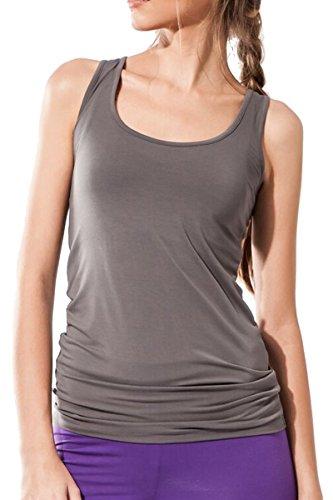 Sternitz Camiseta Fitness para mujer, Maya Top de, ideal para hacer pilates, yoga y cualquier deporte, tela de bambú, ecológica y suave. Sin mangas. (L, Gris)