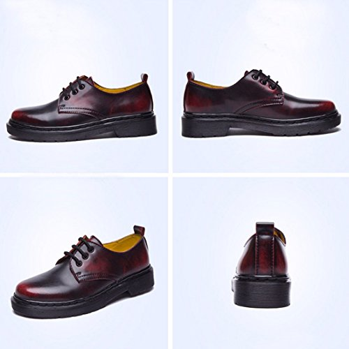 QIYUN.Z Style ecole Angleterre Femmes Bas Arbre Martin Chaussures Simples Lacets Millesime Rouge Mat