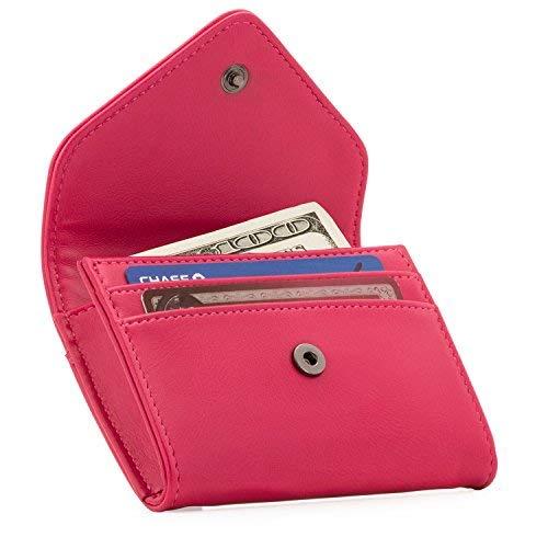 Otto Angelino Portafoglio in Ecopelle con Porta Monete e Porta Carte di Credito o Tessere - Blocco Anti RFID - Unisex (Rosa)