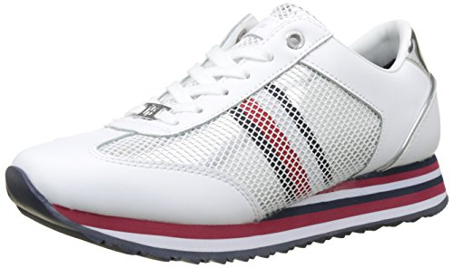 Tommy Hilfiger Damen Tommy Corporate Flag Sneaker, Weiß (White 100), 38 EU