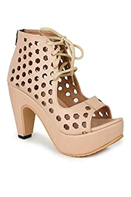 NAISHA Women's Synthetic Leather Heel, Fashionable Stylish & Light-Weight (Beige, 36)