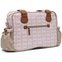 Pink Lining Not So Plain Jane–Bolso cambiador, color crema diseño de lazos en rosa