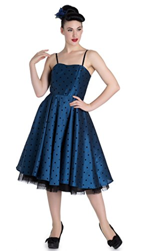 Hell Bunny ISABELLA Prom Polka Dots Punkte Vintage Swing KLEID Rockabilly Himmelblau mit schwarzen Dots