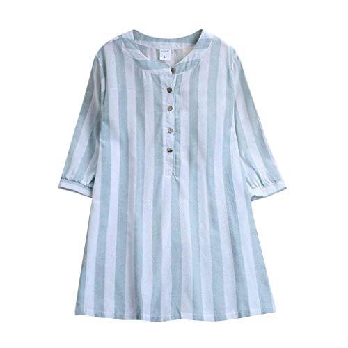 b-commerce Abstand beiläufiges T-Shirt Bluse, Plus Größe Frauen lose beiläufige Taste unten Langarm Stehkragen Baggy Tops Shirt Streifen Bluse Kleid für Damen Plus Size (Coca Cola Kleid Kostüme)