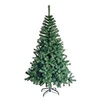 5ft Premium Hinged Artificial Christmas Pine Tree w/Easy Assembly, Solid Metal Legs, 450 Tips