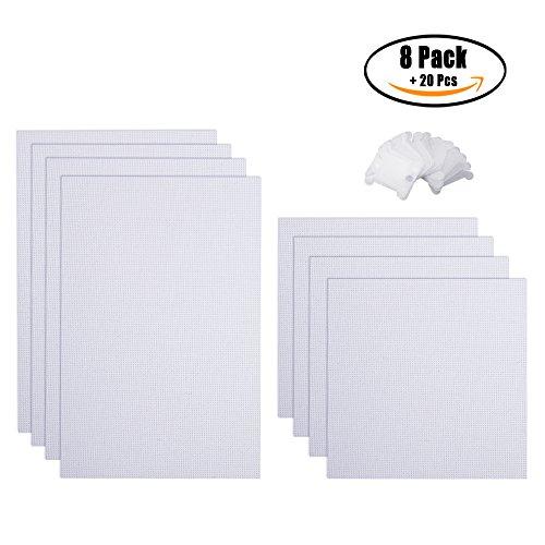 8pcs 2Größe Kreuzstich Stoff, Aida Tuch, embroide Tuch mit 20PCS Kunststoff Floss Spulen weiß Farbe  11CT