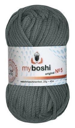 Myboshi No. 5, Farbe 594 titangrau, 25g Knäuel, Sommerwolle, häkeln, Seelengarn, 57% Baumwolle und 43% Polyamid, Trendwolle, Häkel- & Strickgarn